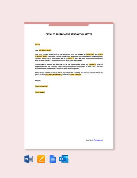 Free Detailed Appreciative Resignation Letter