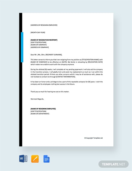 Free Resignation Letter Due to Relocation