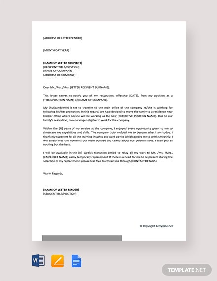 Free Resignation Letter Due To Relocation Of Spouse