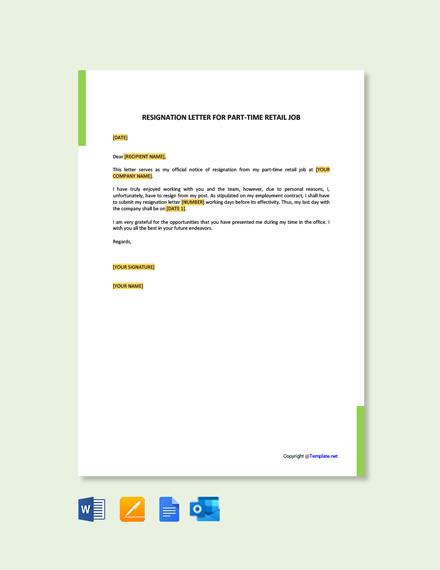 Resignation Letter For Part Time Retail Job
