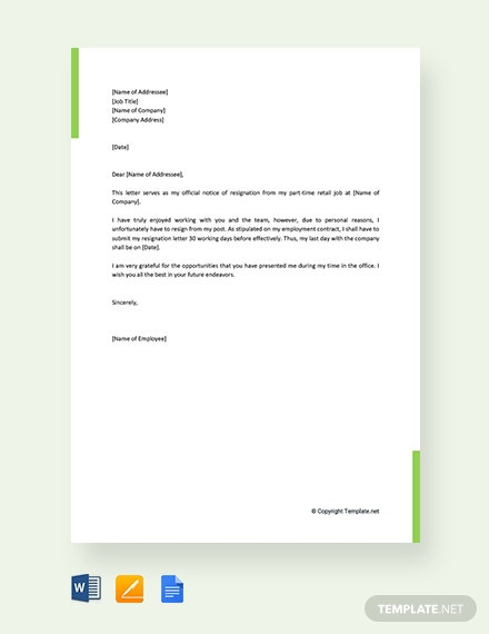 Free Resignation Letter For Part Time Retail Job