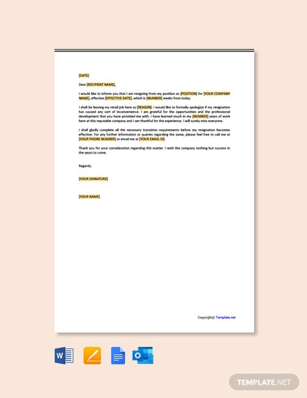 Free Retail Job Resignation Letter