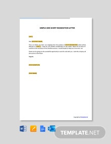 Free Simple And Short Resignation Letter
