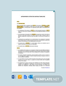 Free Appointment Letter for Contract Employee