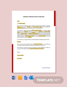 Free Company Transfer Letter to Employee
