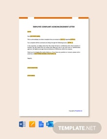 Free Employee Complaint Acknowledgement Letter