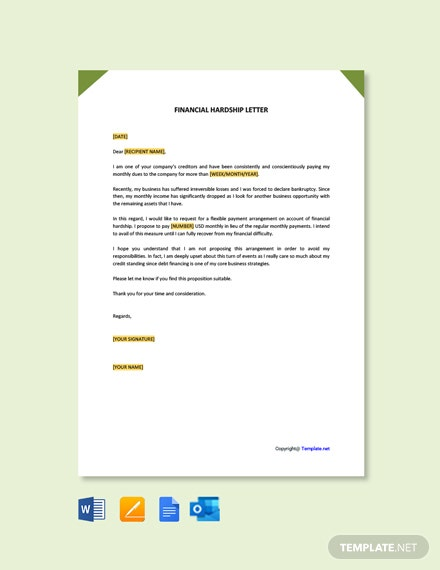 Free Financial Hardship Letter Template