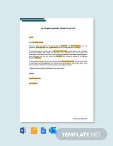 Free Internal Company Transfer Letter