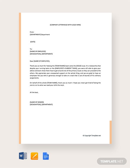 Free Thank You For Your Support Letter To Employee