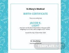Baby Certificate Template