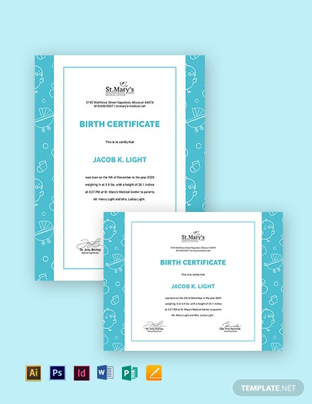 editable baby certificate template