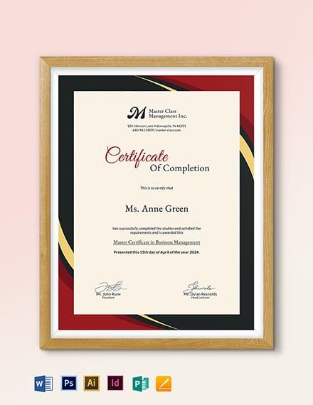 Business Management Certificate Template