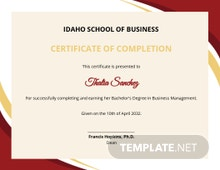 Business Management Certificate Template