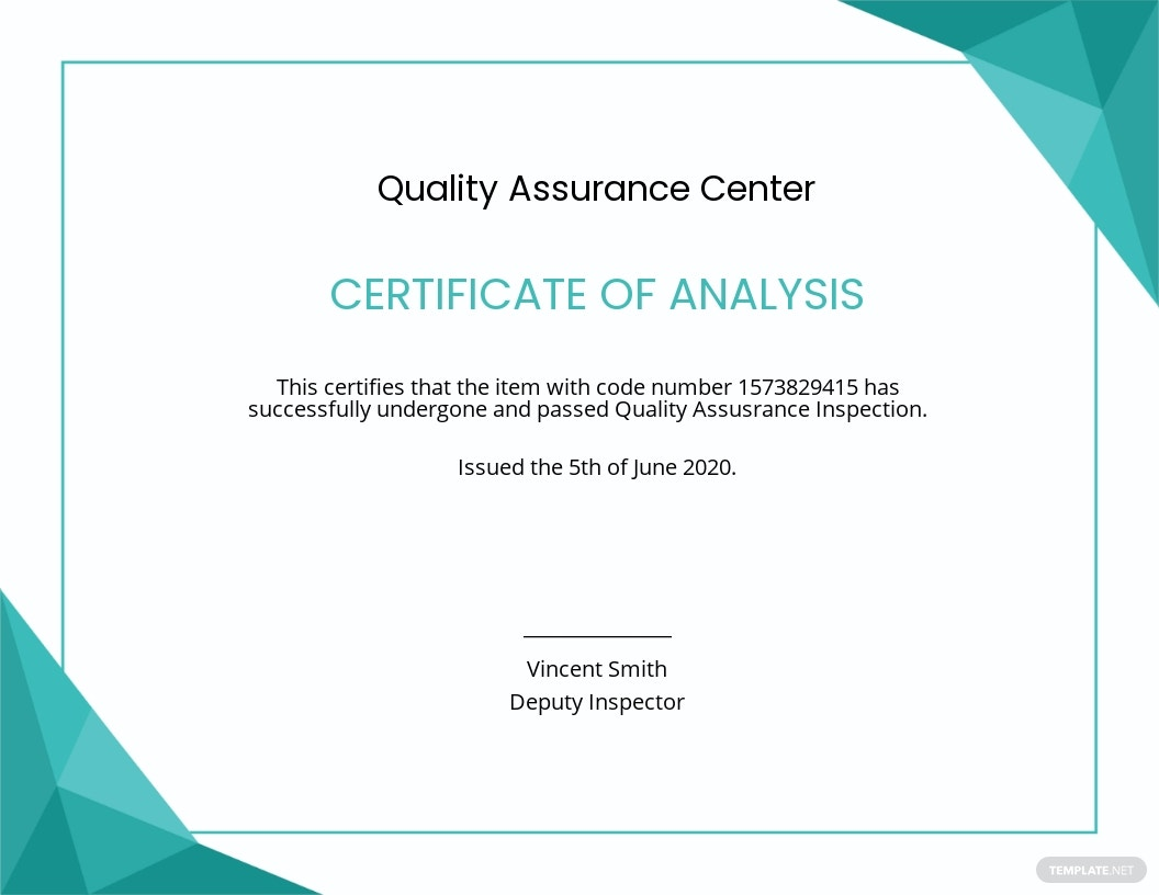 Certificate of Analysis Template