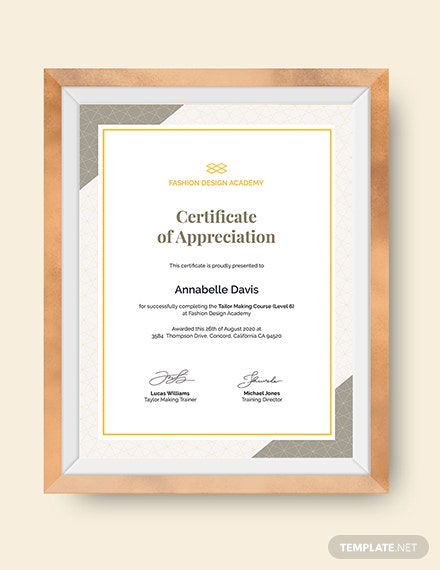 Certificate of Appreciation for Training Download
