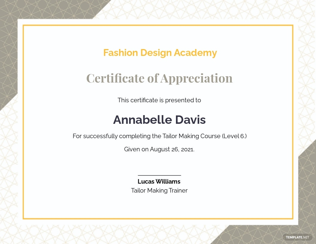 Certificate of Appreciation for Training Template