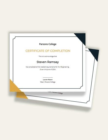 Editable Civil Diploma Certificate Template