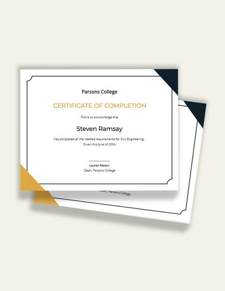 Civil Diploma Certificate Template