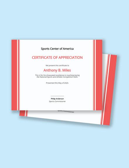 Coach Certificate Template