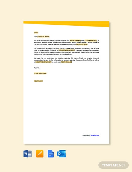 Free 30 Day Notice of Cancellation Letter