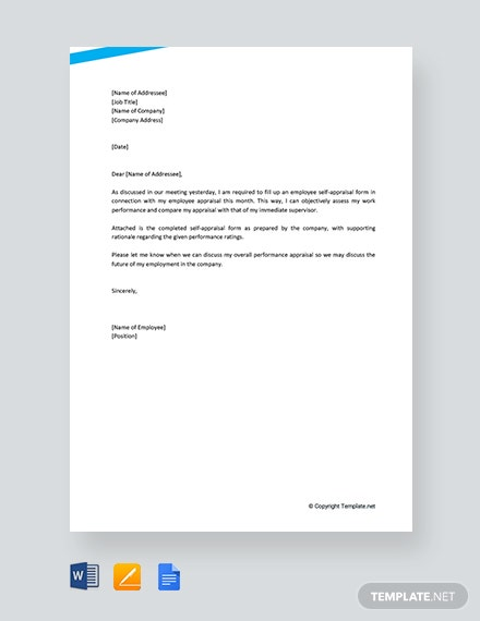Free Employee Self Appraisal Letter