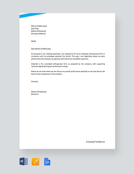 free employee self appraisal letter template