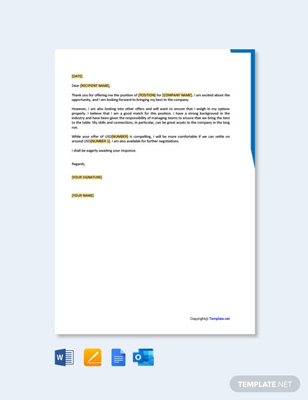 Free Salary Negotiation Counter Offer Letter