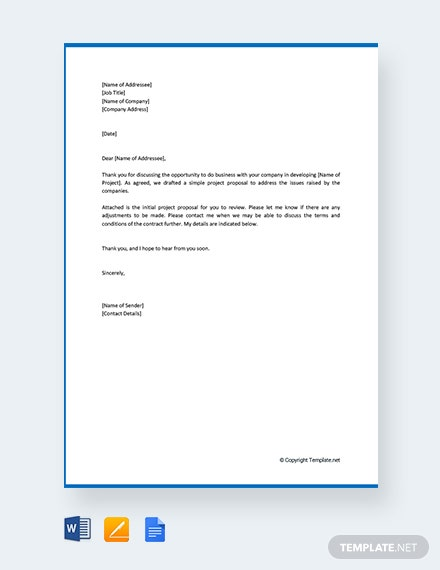 Free Simple Project Proposal Letter