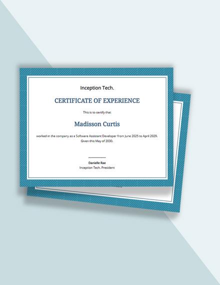 Job Experience Certificate Template