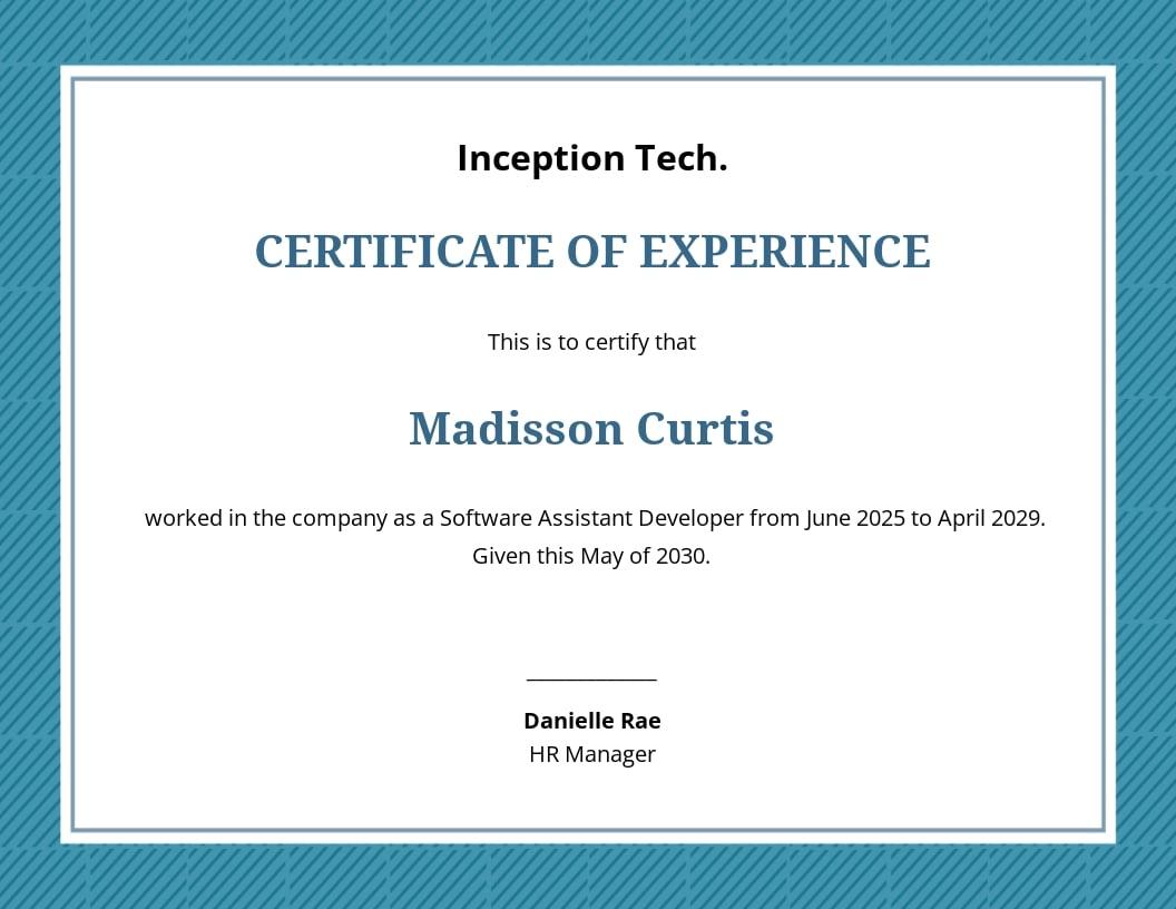 Job Experience Certificate Template.jpe