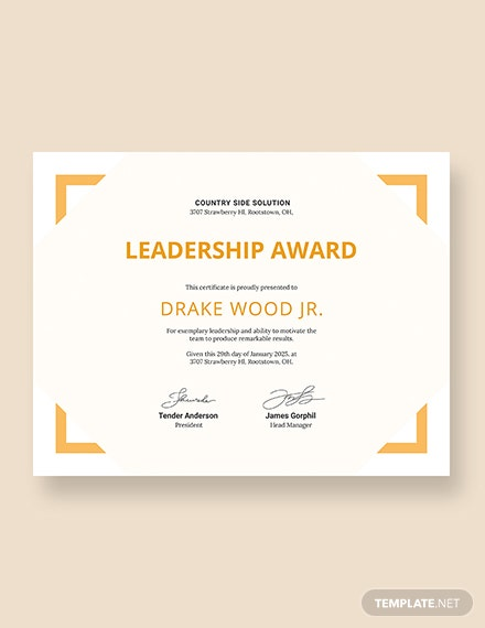 Simple Leadership Certificate Download
