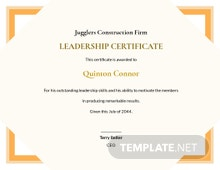 Simple Leadership Certificate Template