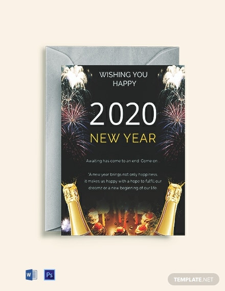 Free Elegant New Year Greeting Card