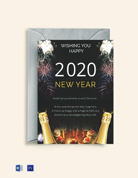 Free Elegant New Year Greeting Card