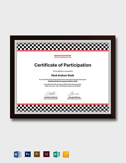 Motorsport Certificate Template
