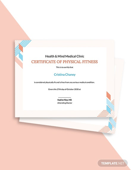 Physical Fitness Certificate Template