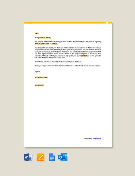 Free Bid Proposal Rejection Letter
