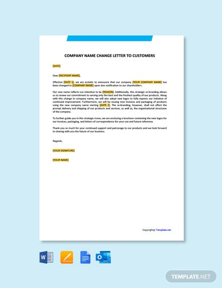 Free Company Name Change Letter To Customers