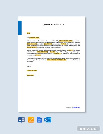 Free Company Transfer Letter