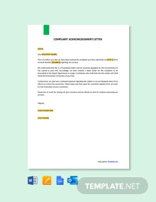 Free Complaint Acknowledgment Letter