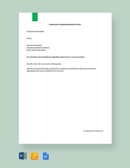 Free Complaint Acknowledgment Letter