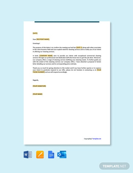 Free Letter Offering Cleaning Services