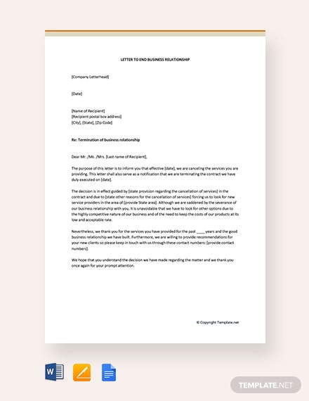 Free Letter To End Business Relationship