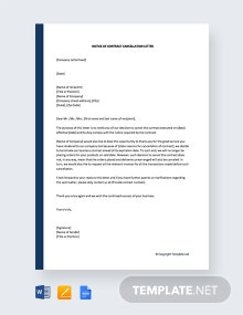Free Notice Of Contract Cancellation Letter
