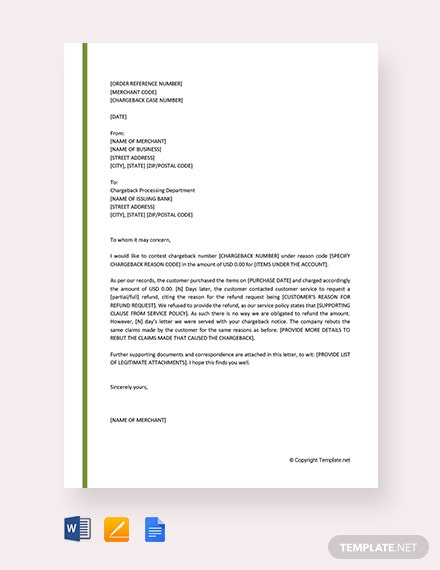 Free Rebuttal Letter for Charge back