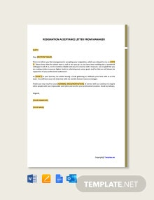 Free Resignation Acceptance Letter From Manager