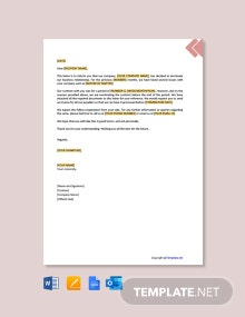 Free Termination Of Business Relationship Letter