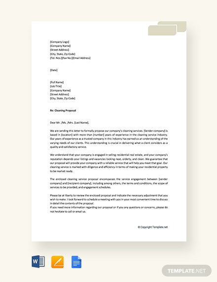 Free Cleaning Proposal Letter