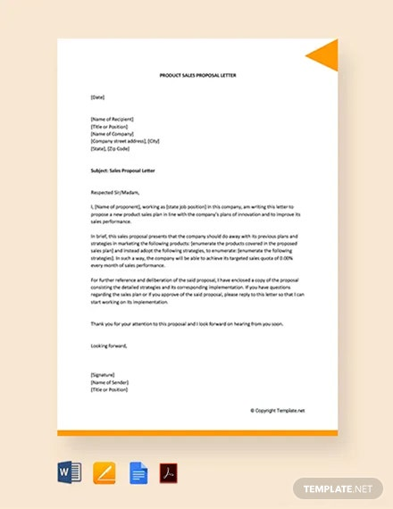 Product Sales Proposal Letter Template