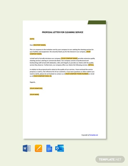 Free Proposal Letter For Cleaning Services